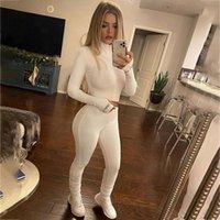 Parça Kıyafetler Şanslı Etiket Eşofman Kaburga Örgü Balıkçı Yaka Uzun Kollu Standı Yaka Zip Up Pantolon Şort Set Spor Kadınlar Kadın Parça