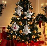 Árvore Pingente de Linho de Natal Impresso Pequeno Correia Ornamento-Cinco-pontiaguda Star Star Ball Mall Decoração Pano Embelezamento Requintado Gwe9743