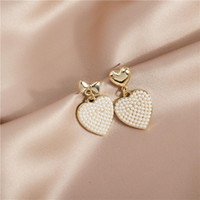 Stud Sweet Imitation Pearl Love Heart Earrings For Women Fashion Elegant Dangle Femme Birthday Party Jewelry Brincos