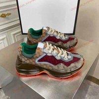 Gucci casual shoes Donne calde Rithmon Casual Shoes Dad Sneaker Design Maison Retro Canvas Iconic Jacquard Tessuto Spessore Sole Luxe Uomini Sneaker