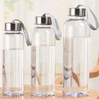 300ml 400ml 500ml esportes ao ar livre garrafas de água portáteis plástico transparente redondo À prova de vazão carregando para bebida de garrafa de água