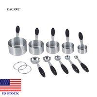 Измерительные чашки и ложки Масштабы Инструменты с силиконовой ручкой Ручка Кухня 10x Нержавеющая сталь H0036 US Fast Доставка