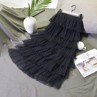 Skirts Summer Women High Waist Ball Gown Tutu Skirt Tulle White Black Long Pleated Korean Saia