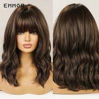 Perucas sintéticas Emmor Ombre Brown para peruca loira para mulheres naturais longos ondulados com bangs Fibra resistente ao calor Daily Cosplay
