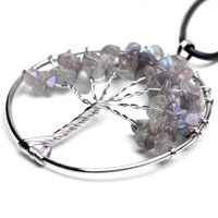 Tree of Life Pendant Flashy Labradorite Crystal Necklace Gemstone Chakra Jewelry Copper