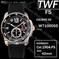 TWF F5 CALIBER DE DIVE W7100055 CAL.1904-PS MC Automatische Herrenuhr Super leuchtende Keramik Lünette Black Dial Zwei Ton Stahl Fall Gummi Uhren HELLO_WATCH