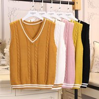 Spring Autumn Sweater Women V-Neck Knitted Vests Female Casual Tank Tops Sleeveless Pullover Preppy Style J261 Women's Sweaters