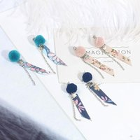 Autumn And Winter Pair Of Plush Ball Earrings Simple Versatile Fabric Streamer Long Dangle & Chandelier