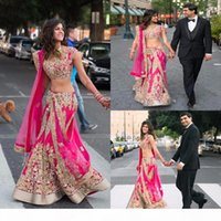 2K17 Indian Two Pieces Evening Dresses With Gold Applique Hot Pink Prom Gowns Tulle Custom Made Formal Party Gowns Vintage Sexy 2017