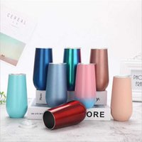 Glasses Double Champagne 6oz Stainless Steel Stemless Wine Vacuum Insulated Cups Cocktail Beer Tumblers Mini Mugs With Leakproof Lid