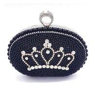 Shoulder Bags Elegant Women Evening Party Beading Bag Classical Pearl Bridal Wedding Rhinestone Finger Cross Crystal Body