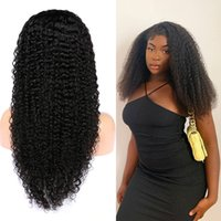 Curly Human Hair 4x4 Transparent Lace Front Wigs With Baby Hairs Pre Plucked Natural Black Color