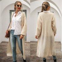 숙녀 단색 컬러 트렌치 코트 패션 트렌드 긴 소매 카디건 롱 코트 디자이너 가을 여성 새로운 캐주얼 느슨한 뜨개질 겉옷