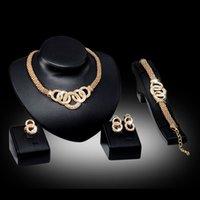 Bilezikler Kolye Küpe Yüzükler Setleri Kadın Moda Rhinestone 18 K Altın Kaplama Alaşım Daireler Parti Takı 4-piece Set Toptan 286 T2