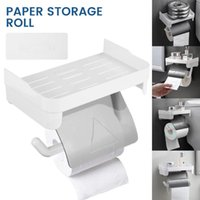 Toilet Paper Holders Wall Mount Holder Phone Shelf Stainless Steel Self Adhesive Punch Free Kitchen Roll Accessory