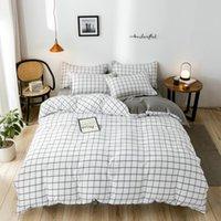 Bedding Sets Classic Set 5 Size Grid Bed Cotton 4pcs set AB Side Duvet Cover Pastoral Sheet 2021