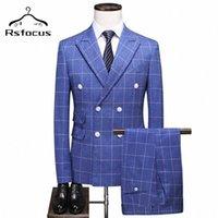 RSFocus Luxus männer Doppelreißanzug 2020 Slim Fit Herren Blue Plaid Anzüge Elegante 3 Stück Hochzeitsanzüge für Männer 5XL TZ001 U2UT #