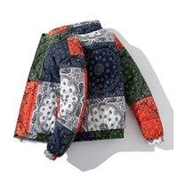 겨울 패딩 자켓 코트 바다나 페이즐리 패턴 자켓 파카 남자 힙합 streetwear 두꺼운 윈드 브레이커 하라주쿠