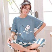 Кролик Hawk Brand 2021New Pajamas Набор Летние Хлопок Женщины Сладкий Мультфильм Короткие Рукав Двухструктура Домашняя Одежда Женщины Шорты Пижама