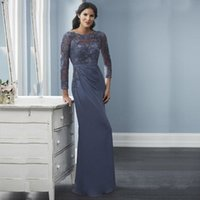 Jewel Neck 3 4 Long Sleeves Mermaid Mother of the Bride Dresses Lace Appliqued Floor Length Chiffon Evening Dress