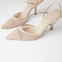 Sandales Ranmo 2021 Прекрасный каблук заостренный носок Сетка для женщин Обувь для вечеринки Элегантные насосы тапочки