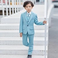 Men's Suits & Blazers Light Blue Wedding Boy Sits 3 Pieces(Jacket+Pant+Vest+BowTie) Gray For Kids Custome Homme Formal Classic