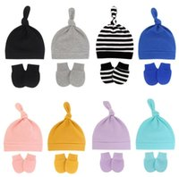 Caps & Hats Cotton Born Baby Knotted Hat Glove Set Boy Girl Sleeping Cap Cute Adjusting