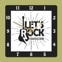 Guitar Old Fashioned Style Home Decor Square Let's Rock Non Ticking Printed Wall Clock Clocks Watch Gift For Music Band Lover