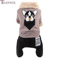 트랜지스터 귀여운 퍼그 패턴 양털 칼라 개 점프 슈트 4 다리 턱받이 바지 애완 동물 겨울 옷 부드러운 편안한 강아지 apaprel 910 의류