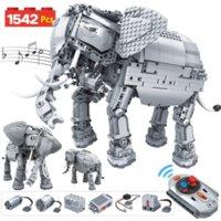 1542шт творческие электрические пульты дистанционного управления машины строительные блоки технические rc слон животных кирпича игрушки для детей