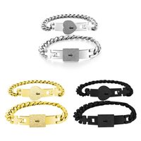 Bangle 2Pcs Silver Tone Stainless Steel Lover Heart Love Lock Bracelet With Key Bangles Kit Couple Jewelry Sets Gift