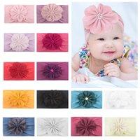 Nuevo 0-6Y Newborn Infantil Niños Niños Nylon Flower Hairband Diadema Estiramiento Turban Nudo Parrera de cabeza Headwear