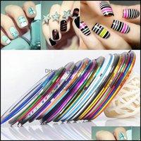 Stickers Decals Salon Health & Beauty13 Color Rolls Stri Tape Line Art Decoration Mti Colors Patterns Highlight Nail Wraps Sticker Drop Deli