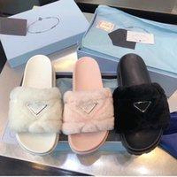 2021 Diseñadores de lujos para mujer Señoras Lanas diapositivas de invierno piel mullida peludo sandalias zapatillas cómodas cómodas chica flip flop deslizadores tamaño 35-40