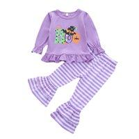 Euro American Girl Kleidung Set Halloween Hut und Brief Drucken T-shirt + Flaschung Stripped Pants Kinder Cosplay Kleidung Zwei Stück Sets
