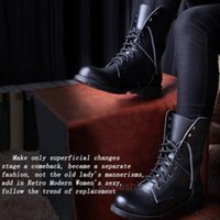 England Vintage Fashion Cowhide High Top Boots Motorcycle Ankle Women Lace Up Botas Mujer Shoes