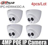 Cámaras 4 PCS / LOT DAHUA IPC-HDW4433C-A 4MP POE Cámara IP IR incorporada MIC H.265 Red CCTV HDW4433C-A