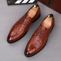 Новая популярная повседневная мужская обувь Royal Crocodile Pattern Pattern Flat Foral Oxfords Wedding вечернее платье обувь Sapato Social Masculino