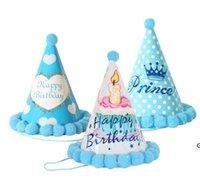 Alles Gute zum Geburtstag Hüte Rot Blau Rosa Gelb Bunte Pelzkugelkappe Party Kinder Hut Erwachsene Kinder Geburtstagskappen HWE6581