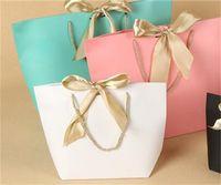 Большой размер Подарочная коробка Упаковка Золотая Ручка Бумага Подарочные Сумки Крафт-бумага с ручками Свадебная детская Детская душ День рождения Party 212 V2