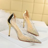 Red bottom heels women dress shoes fashion designer 10cm so kate high heel pointed toes pumps rhinestones sparkled with size34-43
