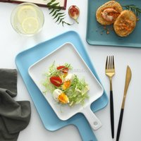 Dishes & Plates Nordic Solid Matte Rectangle Ceramic Plate Bone China Dinner Heat Resistant Backing Flat Steak Fruit Salad Tray