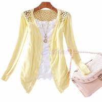 Women Knitted Cardigan Sweater Tops Candy Color Knitwear Hollow Lace Long Sleeve Slim Thin Out Jacket Women's Knits & Tees