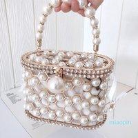 Luxury Pearl Women's Handbag Hollow Out Wedding Clutch Purse Bag Female Rhinestone Metal Cage Basket Shoulder Bag ZD1846 C0121