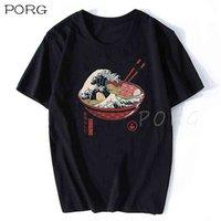 Great Ramen Wave the Kanagawa Giappone Fashion Bibizza Coreana Ulzng Aestetico Tshirt Cotone Anime T-shirt 210707