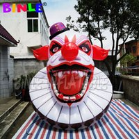 Customized Holiday Decorative Inflatable Evil Clown Head 3 meters high inflatables halloween ghost with LEDs Entrance Decoration