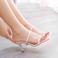 Dress Shoes Sexy queen crystal slippers, women's sandals, square high heels, slippers seven inches, stiletto. V4SK