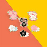 Fashion Sakura Enamel Pin Custom Pink White Cherry Blossom Brooches Bag Lapel Pin Cartoon Flowers Badge Jewelry Gift