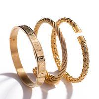 3 pezzi / set di uomini caldi in acciaio titanio in acciaio romano braccialetto a ferro di cavallo con fibbia braccialetto braccialetto di lusso gioielli fatti a mano di lusso