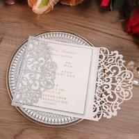 100 stücke Lasergeschnittene Papiereinladungskarte für Hochzeit Geburtstag Business Baptism Jubiläum Silber Grußkarten mit Umschlag